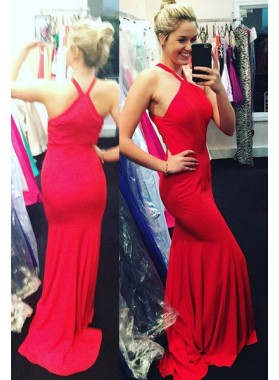 2019 Gorgeous Red Halter Court Train Column/Sheath Prom Dresses