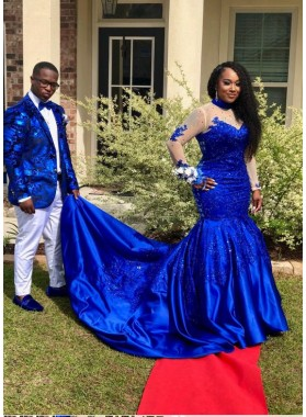 Amazing Royal Blue Long Sleeves Satin Long Train Plus Size Prom Dresses With Appliques