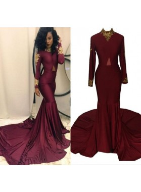 Sexy Mermaid Burgundy Long Sleeves Long Train High Neck African Women's Prom Dresses