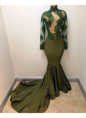 2021 New Arrival Mermaid Dark Green Long Sleeves Transparent Prom Dresses With Appliques