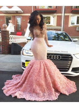 Amazing Pink Long Sleeves Rose Mermaid Transparent Prom Dresses With Beads