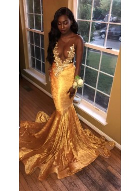 2021 Newly Gold Transparent Velvet Long Train Prom Dresses With Appliques