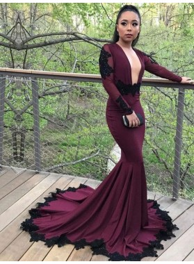 New Arrival Mermaid Burgundy Long Sleeves Deep V Neck Elastic Satin Prom Dresses With Long Train