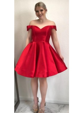 Red Short Off Shoulder Satin Knee Length Prom Dresses