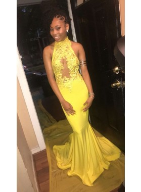 Backless Yellow Elastic Satin With Appliques Halter Prom Dresses