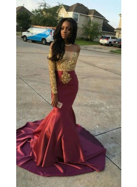 Sexy Mermaid Burgundy Satin Off Shoulder Prom Dresses With Gold Appliques