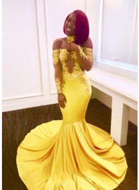 Off Shoulder Mermaid Long Sleeves Yellow Long Train Prom Dresses With Appliques