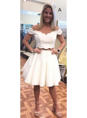 2019 White Off Shoulder White Satin Knee Length Two Pieces Prom Dresses