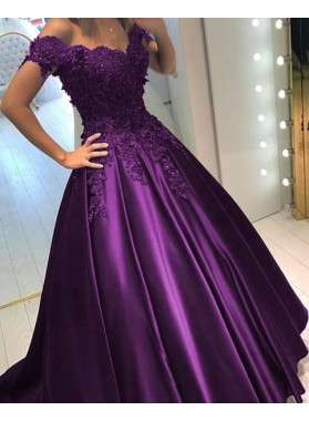 Classic Regency Off Shoulder Satin Sweetheart Beaded Ball Gown Prom Dresses