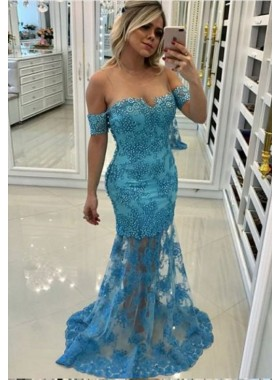 Off Shoulder Blue Sheath Appliques Tulle See Through Prom Dresses