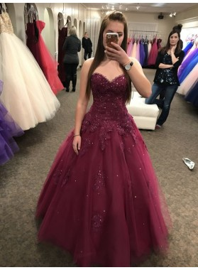 Cute Burgundy Sleeveless Tulle Sweetheart Ball Gown Prom Dresses