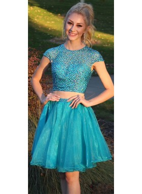 Lovely Cute A Line Organza Beaded Two Pieces Capped Sleeves Knee Length Short Blue Prom Dresses