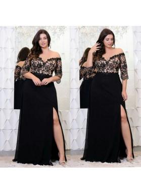 A Line Black Off Shoulder Half Sleeves Side Slit Plus Size Lace Prom Dresses