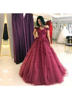Lovely Burgundy Off Shoulder Tulle Sweetheart Ball Gown Prom Dresses With Appliques