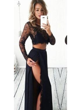 Cheap A Line Side Slit Black Two Pieces Black Lace Long Prom Dresses