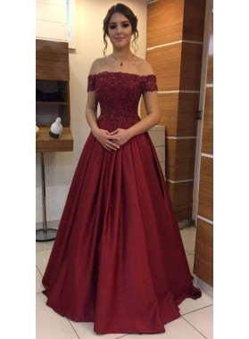 Elegant A Line Off Shoulder Satin Burgundy Prom Dresses With Appliques