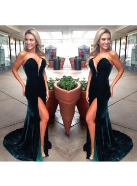 Charming Dark Green Sweetheart Velvet Side Slit Prom Dresses