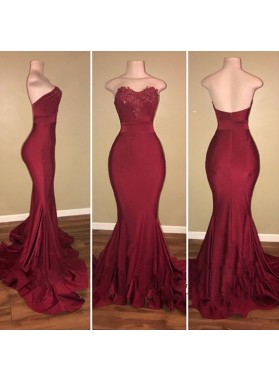 Cheap Burgundy Mermaid Sweetheart Zipper Elastic Satin Long Prom Dresses With Appliques