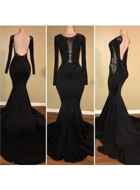 Sexy Black Mermaid See Through Long Sleeves Elastic Satin Backless Appliques Long Prom Dresses
