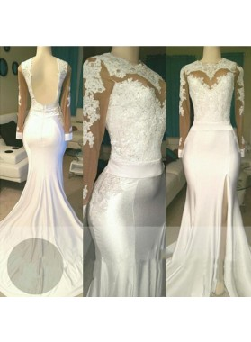 White Sheath Backless See Through Long Sleeves Side Slit Long Prom Dresses 2020