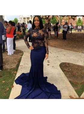 Dark Navy Mermaid Long Sleeves See Through Long Prom Dresses With Appliques