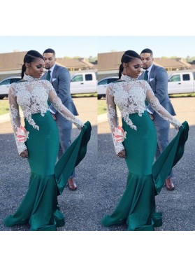 Long Sleeves See Through Teal Elastic Satin With White Appliques African Long Prom Dresses