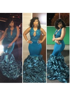 Newly Mermaid Ruffles Blue Backless African Long Elastic Satin Prom Dresses