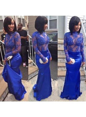 Royal Blue Sheath Long Sleeves See Through Elastic Satin African Lace Prom Dresses
