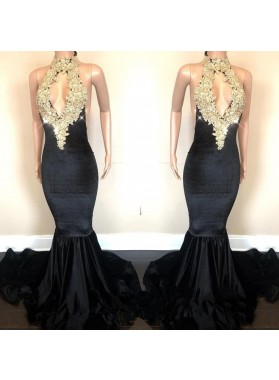 Sexy Backless High Neck Velvet Black Prom Dresses With Gold Appliques Mermaid African Open Front Long