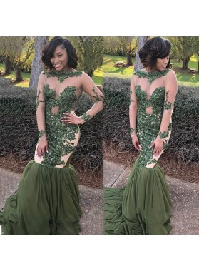 Green Mermaid Long Sleeves See Through Long Sleeves 2021 African Prom Dresses