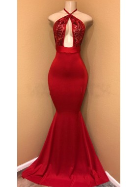 Sexy Red Mermaid Halter Open Front Satin Prom Dresses With Sequence
