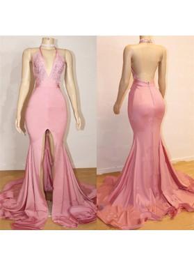 Sheath Pink Side Slit V Neck Backless Long High Waist Prom Dresses