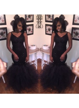 Shiny Black Mermaid Sweetheart Tulle African Prom Dresses