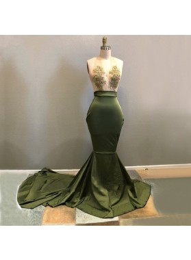 Long Green Halter Deep V Neck Elastic Satin With Appliques Backless Prom Dresses