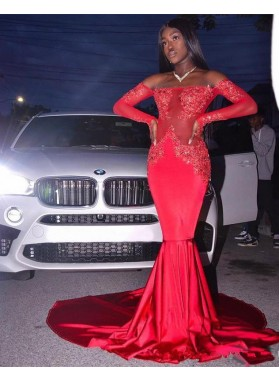 Sexy Red Off Shoulder Long Sleeves Mermaid See Through Long Prom Dresses African  With Appliques