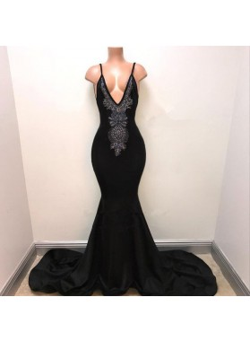 Sexy Mermaid Black Deep V Neck With Beaded Backless Long Prom Dresses