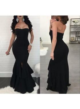 Sexy Black Mermaid Sweetheart Ruffles Side Slit Plain Floor Length Prom Dresses