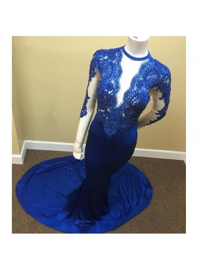 Amazing Royal Blue Mermaid Long Sleeves Open Front Long See Through Prom Dresses