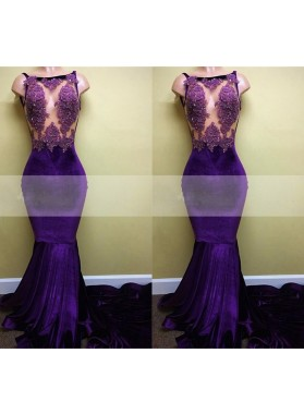 Charming Purple Mermaid Lace Velvet Long Train See Through Prom Dresses