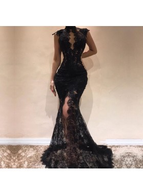 High Neck Black Side Slit Lace Mermaid Long Backless Prom Dresses