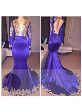 Mermaid Long Sleeves Royal Blue With Gold Appliques V Neck Backless Long Prom Dresses