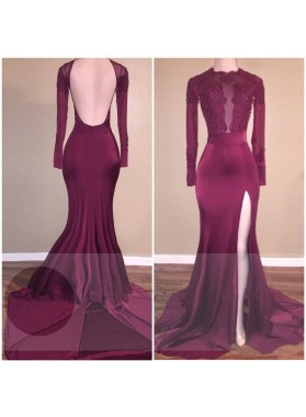 Long Sleeves Side Slit Backless Burgundy Elastic Satin Long Prom Dresses With Appliques