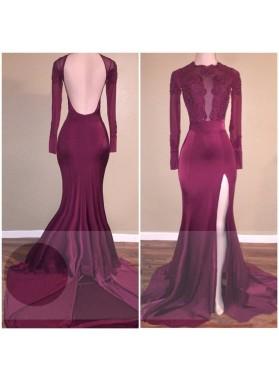 Long Sleeves Side Slit Backless Burgundy Elastic Satin Long Prom Dresses With Appliques