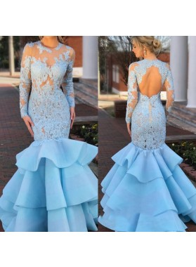 Amazing Blue Mermaid Long Sleeves Ruffles See Through Backless Prom Dresses With Appliques