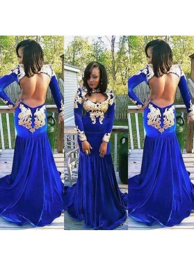 Sexy Mermaid Royal Blue With Gold Appliques Velvet Long Sleeves African Backless Prom Dresses