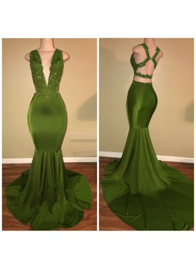 Sexy Green Mermaid Deep V Neck Criss Cross Backless Long Prom Dresses
