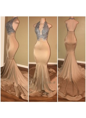 Sexy Champagne With Silver Appliques Mermaid Deep V Open Front Backless Long Prom Dresses