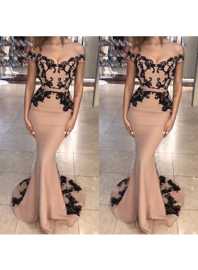 Amazing Mermaid Off Shoulder Satin Champagne With Black Appliques Long Prom Dresses
