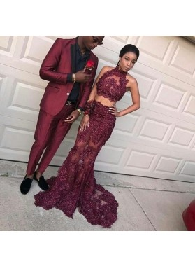 New Arrival Sheath Burgundy Two Pieces Beaded See Through High Neck Prom Dresses