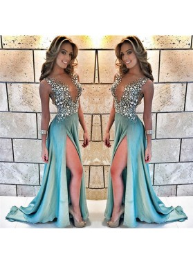 A Line Satin Mint Green Beaded Side Slit Open Front Long Prom Dresses